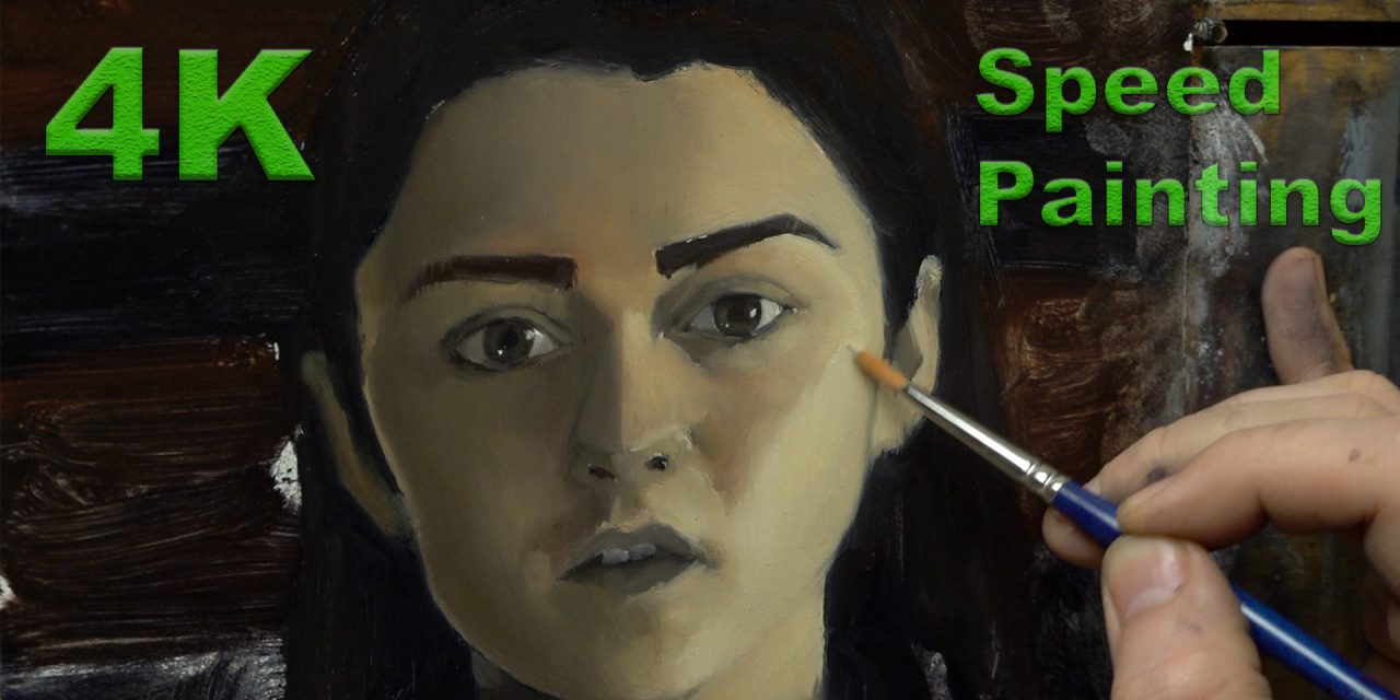 A 4K Speed Painting Tutorial of Maisie Williams In Oil